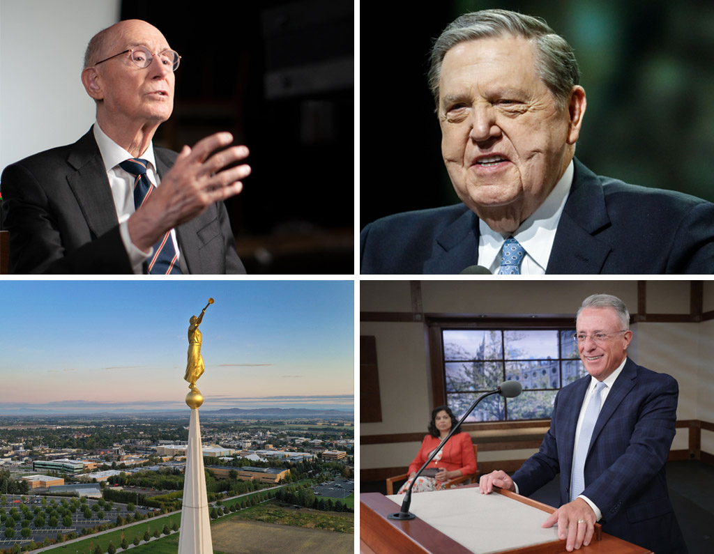 Clockwise from top left, President Henry B. Eyring, second counselor in the First Presidency, in a #HearHim video released Aug. 26, 2021; Elder Jeffrey R. Holland of the Quorum of the Twelve Apostles speaks at the BYU Annual University Conference in Provo on Aug. 23, 2021; Elder Ulisses Soares of the Quorum of the Twelve Apostles, and Sister Reyna Aburto, second counselor of the general Relief Society presidency, participate in a Caribbean area French language member devotional on Saturday, Aug. 21, 2021; the BYU–Idaho campus and the Rexburg Idaho Temple in Rexburg, Idaho, on Sept. 23, 2019.