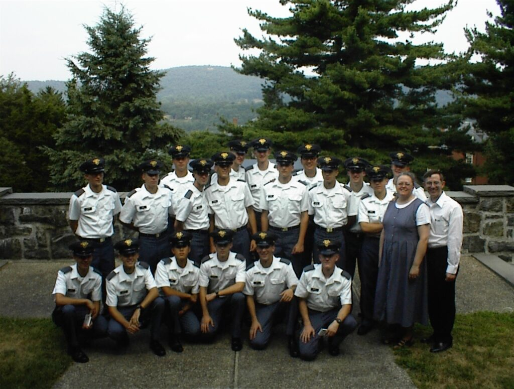 Historian and retired U.S. Army officer Ken Alford, far right, was working as an instructor at the United States Military Academy in New York when the Sept. 11, 2001, attacks occurred. Alford and his wife, Sherilee, posed with Latter-day Saint cadets at West Point in 2002.