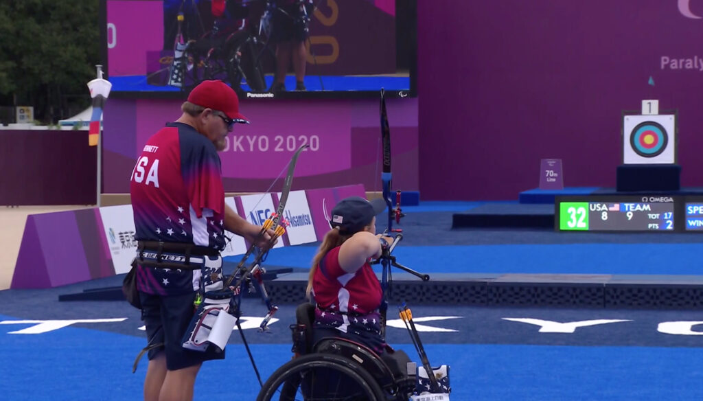 USA's Eric Bennett, left, and teammate Emma Rose Ravish compete in the mixed team recurve tournament at the Yumenoshima Park Archery Field during the Tokyo 2020 Paralympic Games in Yumenoshima, Japan, Saturday, Sept. 4, 2021.