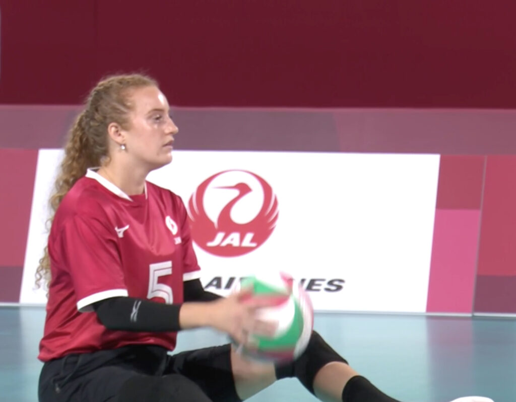 Canada's Payden Vair prepares to serve during the women's bronze medal sitting volleyball match between Brazil and Canada during the Tokyo 2020 Paralympic Games in Chiba, Japan, Saturday, Sept. 4, 2021.