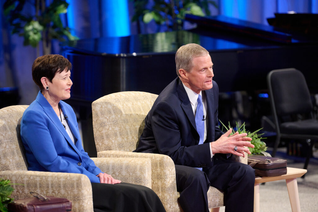 Elder David A. Bednar of the Quorum of the Twelve Apostles answers a question during a Face to Face event broadcast Sunday, Sept. 12, 2021, with his wife, Sister Susan Bednar.