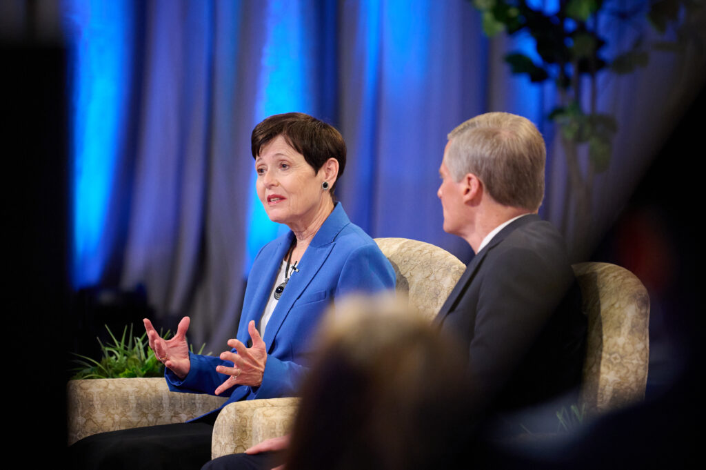 During a Face to Face event broadcast Sunday, Sept. 12, 2021, Sister Susan Bednar points out the importance of inviting others to ask as they seek answers to gospel questions.
