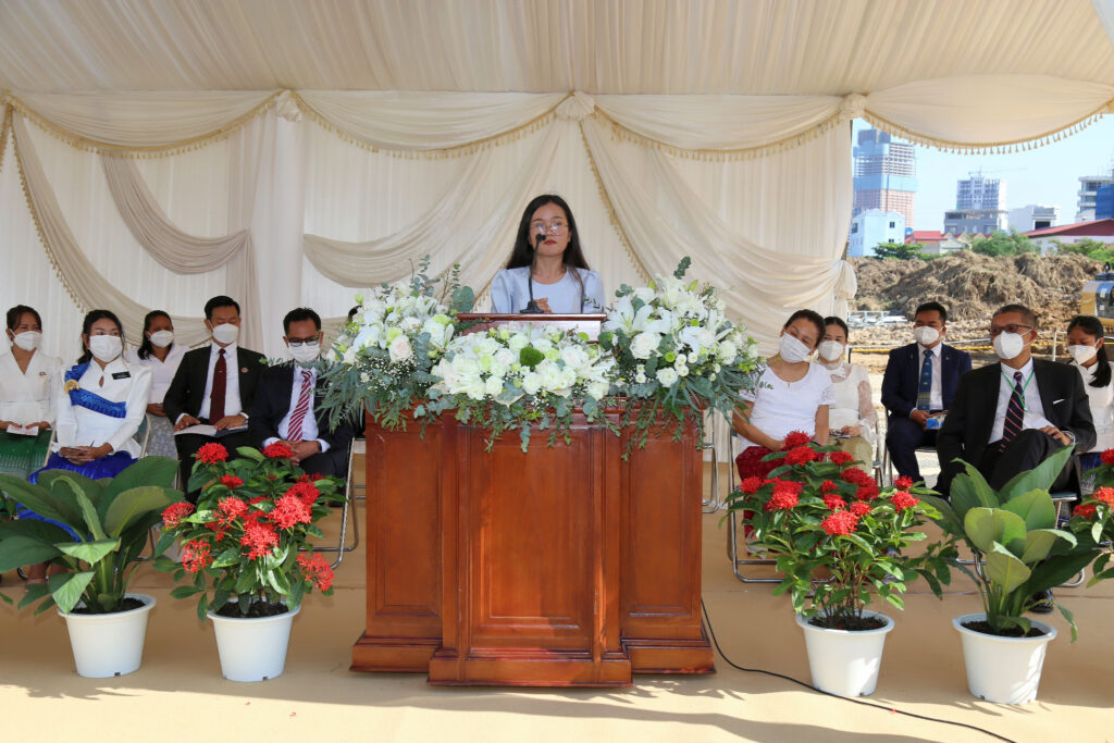 Sister Yos Srey Nouch, a young single adult from the Stung Meanchey 2 Ward in Cambodia, shared her testimony at the Phnom Penh Cambodia Temple groundbreaking ceremony on Sept. 18, 2021.