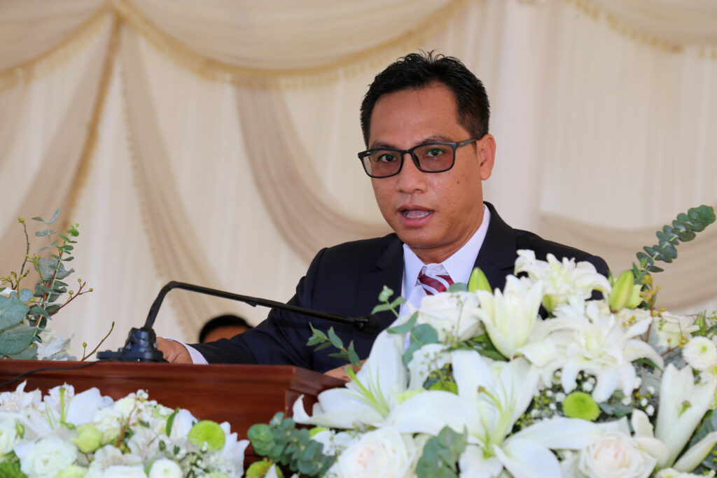 President Veasna Kuonno Neang of the Cambodia Phnom Penh Mission presides at the Phnom Penh Cambodia Temple groundbreaking ceremony on Sept. 18, 2021.