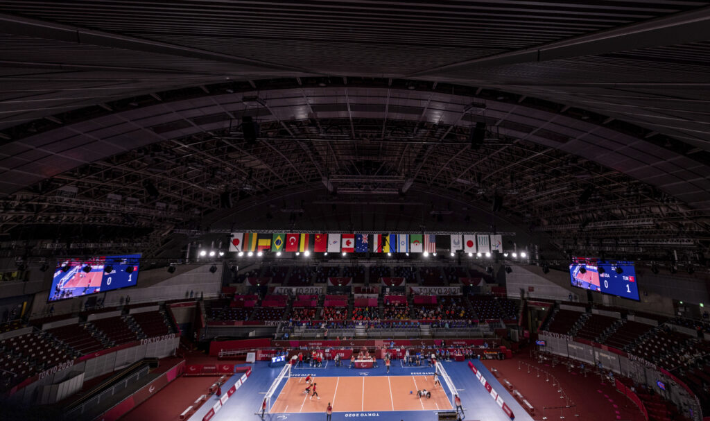 A general view of the area from the roof during the Women's Goalball Gold Medal Match between the U.S. and Turkey at the Tokyo 2020 Paralympic Games in Tokyo Friday, Sept. 3, 2021.