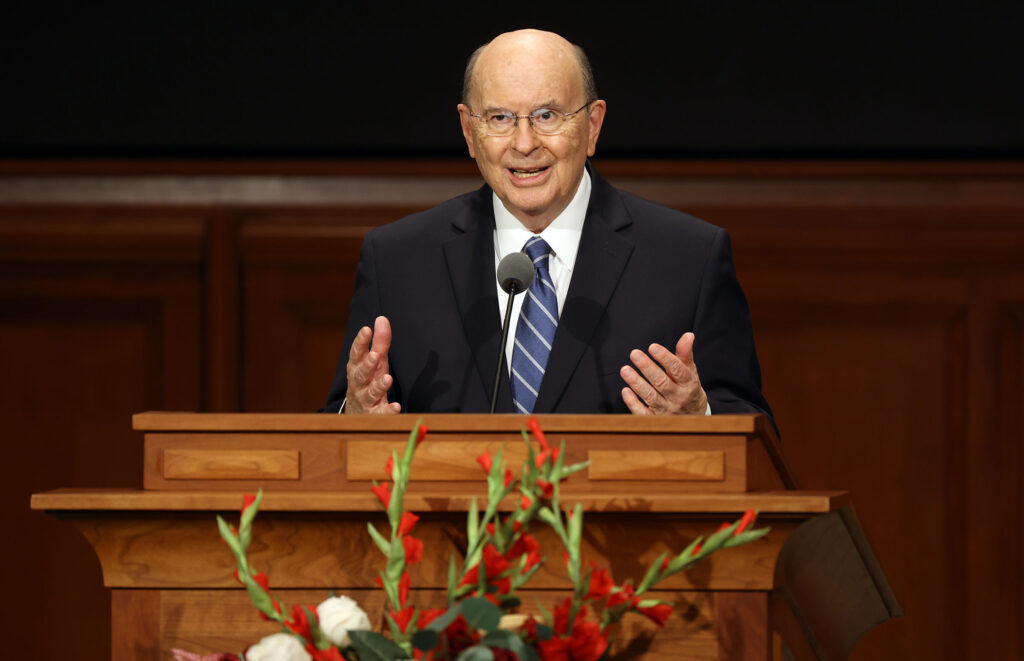 Elder Quentin L. Cook films a speech for BYU-Idaho faculty and staff. at the Church Office Building in Salt Lake City on Thursday, Sept. 2, 2021.