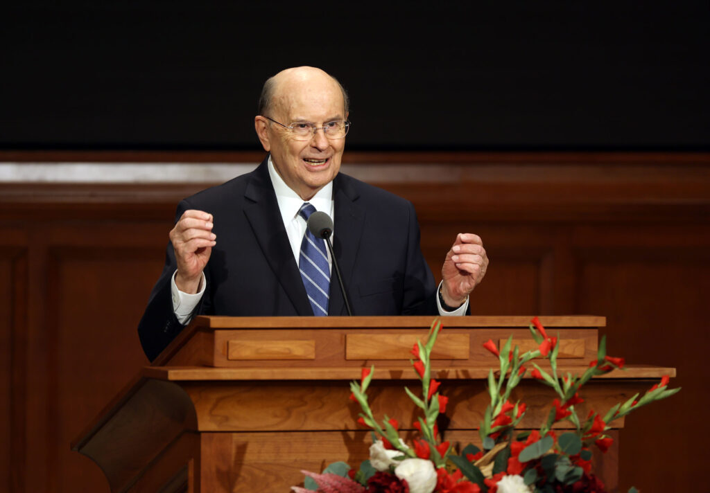 Elder Quentin L. Cook of the Quorum of the Twelve Apostles films a speech for BYU-Idaho faculty and staff, at the Church Office Building in Salt Lake City on Thursday, Sept. 2, 2021.