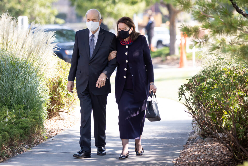 President Russell M. Nelson of The Church of Jesus Christ of Latter-day Saints and his wife, Sister Wendy Nelson, arrive for the funeral for Elder Dean M. Davies in North Salt Lake, Utah, on Saturday, Sept. 4, 2021.