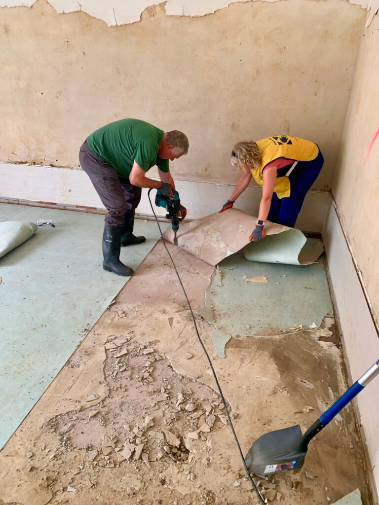 Elder Erich W. Kopischke, first counselor in the Europe Area Presidency and a General Authority Seventy, and his wife Sister Christiane Kopischke joined the clean-up efforts to help those affected by the July 2021 floods in Germany.