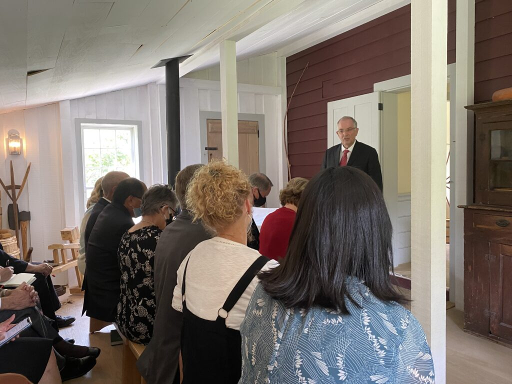 Elder Neil L. Andersen of the Quorum of the Twelve Apostles speaks during a sacrament meeting held with missionaries inside the historical Joseph and Emma Smith home at the Priesthood Restoration Site in Oakland Township (Susquehanna), Pennsylvania, on Sunday, Aug. 29, 2021.