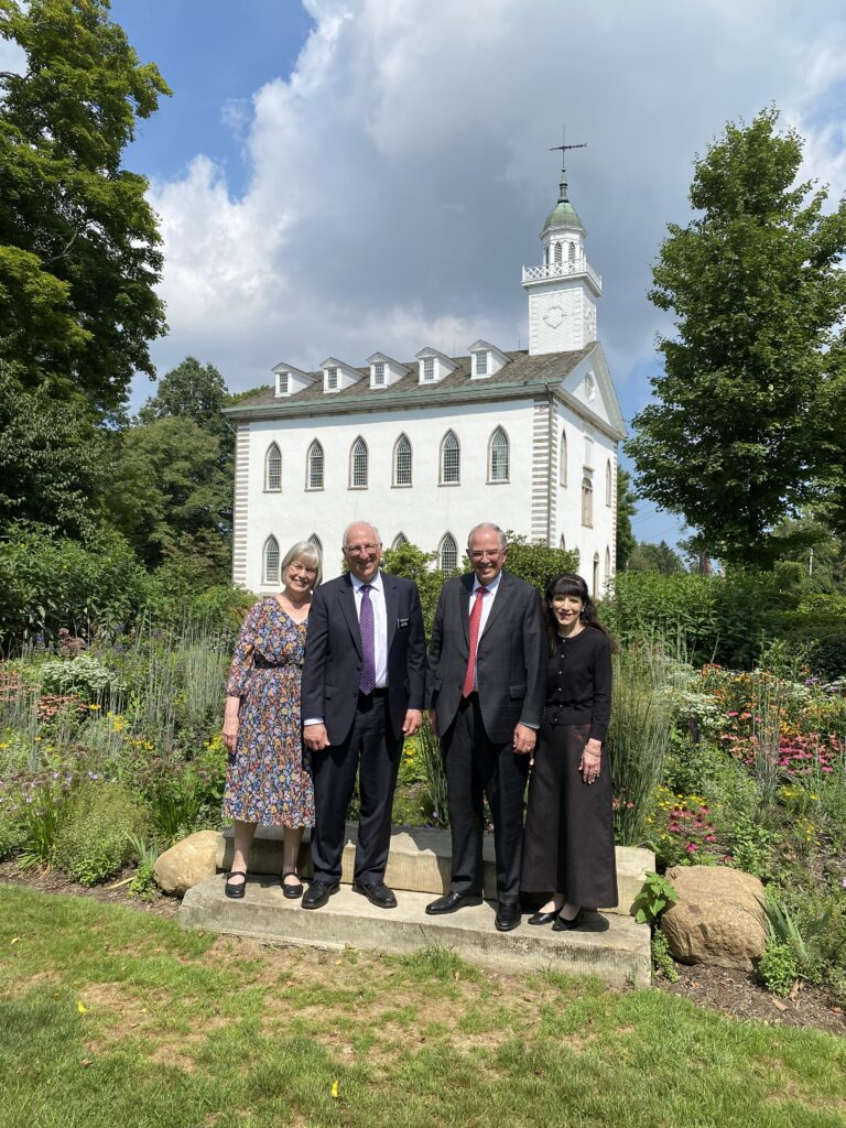 From left, Sister Marilyn and Elder Gary Walton, Elder Neil L. Andersen and Sister Kathy Anderson in front of the Kirtland Temple, during the Andersens' tour of Church historic sites in the Eastern United States, Aug. 27-29, 2021.