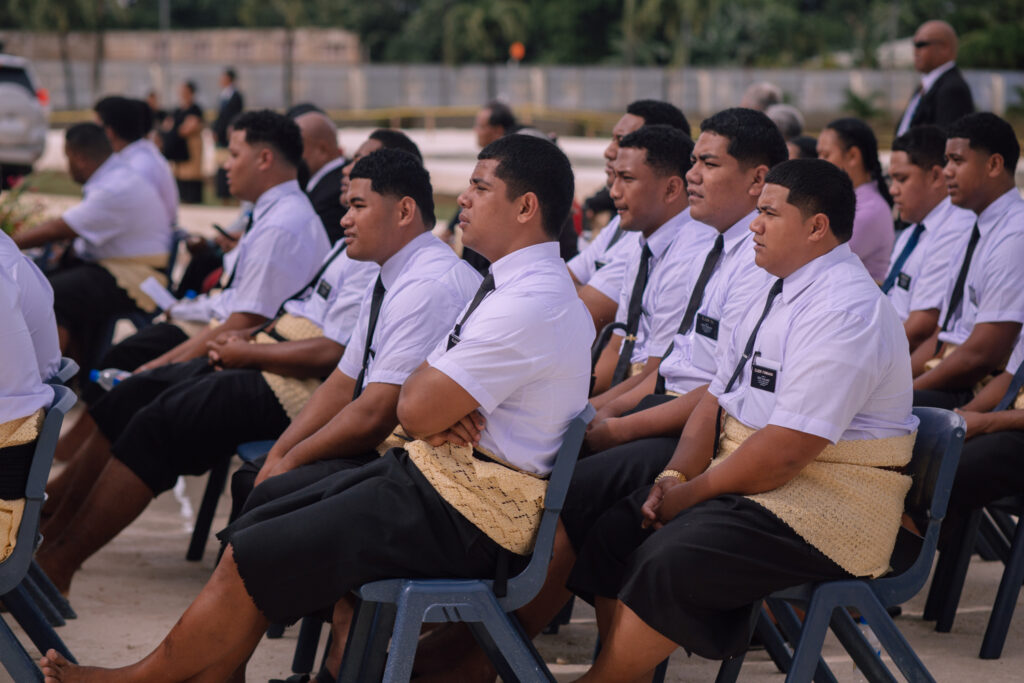 A group of young missionaries from the Tonga Outer Islands Mission attend the groundbreaking ceremony for a new temple to be built in Neiafu on the island of Vava'u on Sept. 11, 2021.