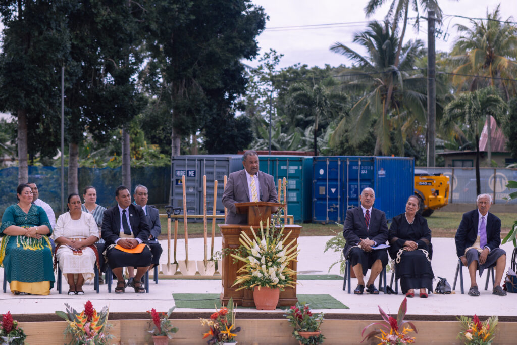 Elder Inoke Kupu, Area Seventy of The Church of Jesus Christ of Latter-day Saints, conducts the groundbreaking service for the Neiafu Tonga Temple on Sept. 11, 2021.
