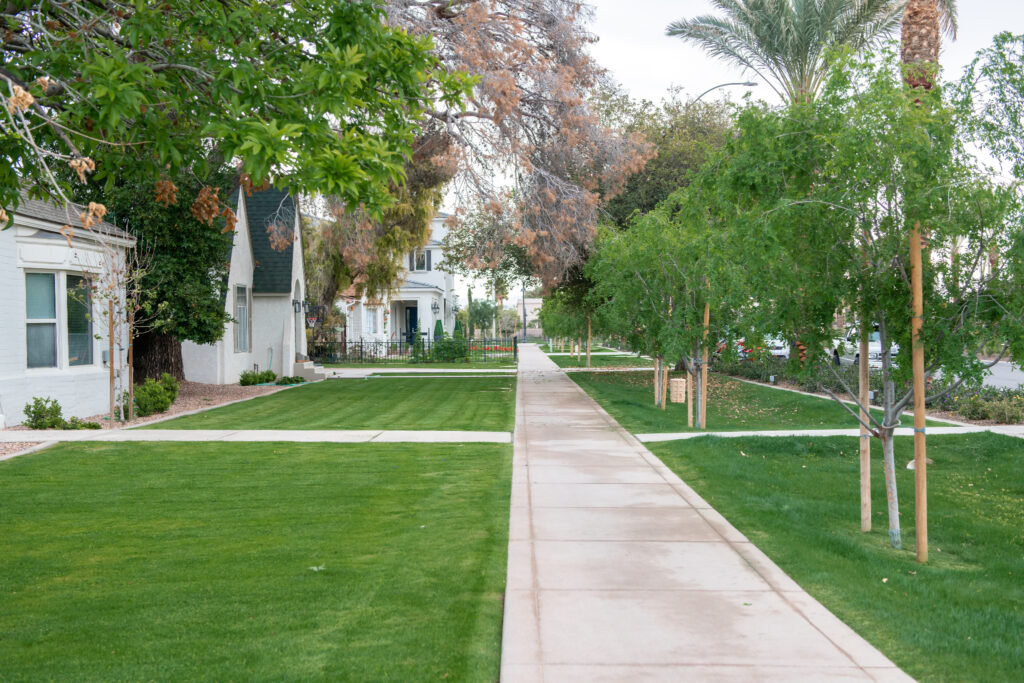 Several homes on First Avenue in Mesa, Arizona, were restored and remodeled in May 2021 as part of the Grove on Main, a multi-use construction project by City Creek Reserve Inc., the real estate arm of The Church of Jesus Christ of Latter-day Saints. The street is designated a historic district and leads to the front entrance of the Mesa Arizona Temple.