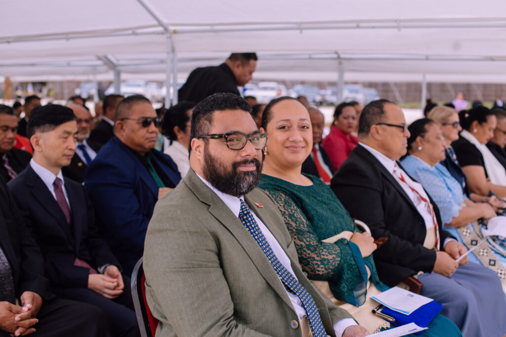 Lord Fakafanua, Speaker of the House, and his wife, Fane, are among honored guests at the Neiafu Tonga Temple groundbreaking held on Sept. 11, 2021.