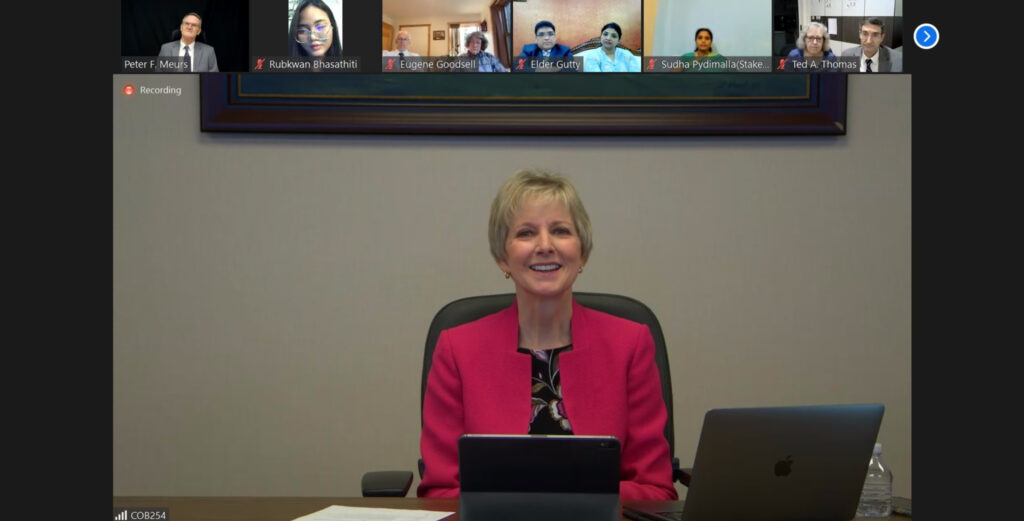 President Jean B. Bingham participate in meetings as part of a virtual tour of the Asia Area Sept 4-12, 2021.