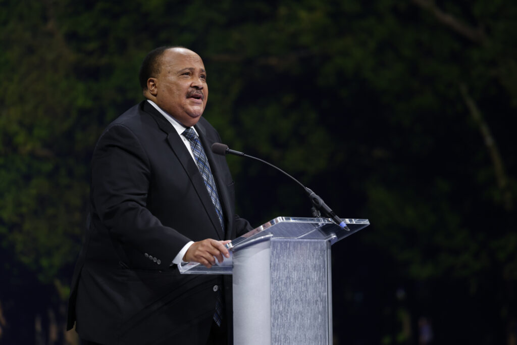 """Martin Luther King III speaks in the Marriott Center on BYU campus in Provo, Utah, on Tuesday, Sept. 28, 2021, as part of BYU's forum on """"Creating the Beloved Community."""""""