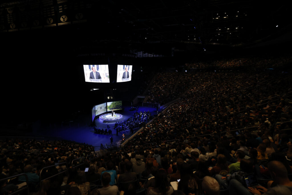 """Students gather in the Marriott Center on BYU Campus to listen to a forum with Martin Luther King III on Tuesday, Sept. 28, 2021, as part of a series on """"Creating the Beloved Community."""""""