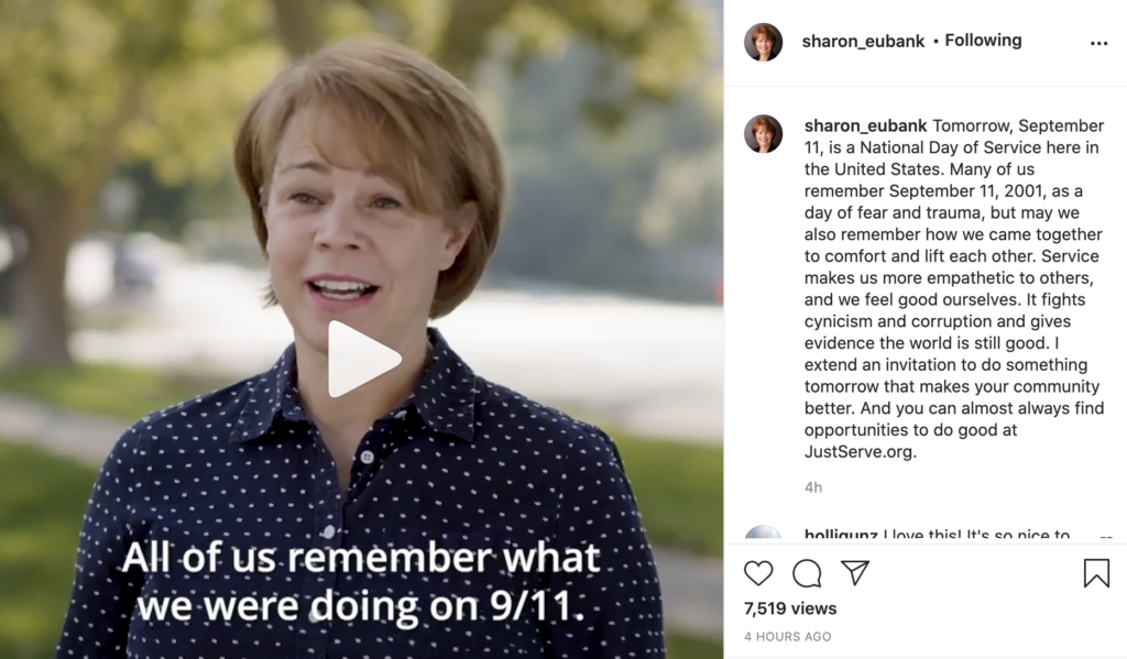 """Sister Sharon Eubank shared a video on social media on Sept. 10, 2021. She emphasized the importance of """"coming together"""" in light of the 20th anniversary of the 9/11 attacks on the National Day of Service."""