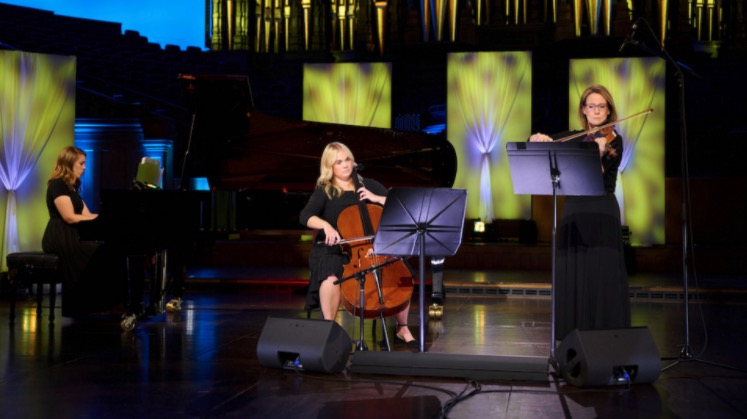 """Emily Rice, Hailey Gibb and Sarah Boss perform """"The Lord Is My Shepherd"""" for the 2021 Church Music Festival."""