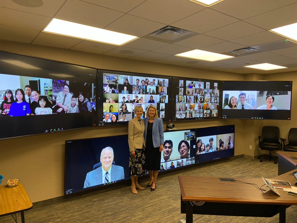 President Camille N. Johnson and President Jean B. Bingham participate in meetings as part of a virtual tour of the Asia Area Sept 4-12, 2021.