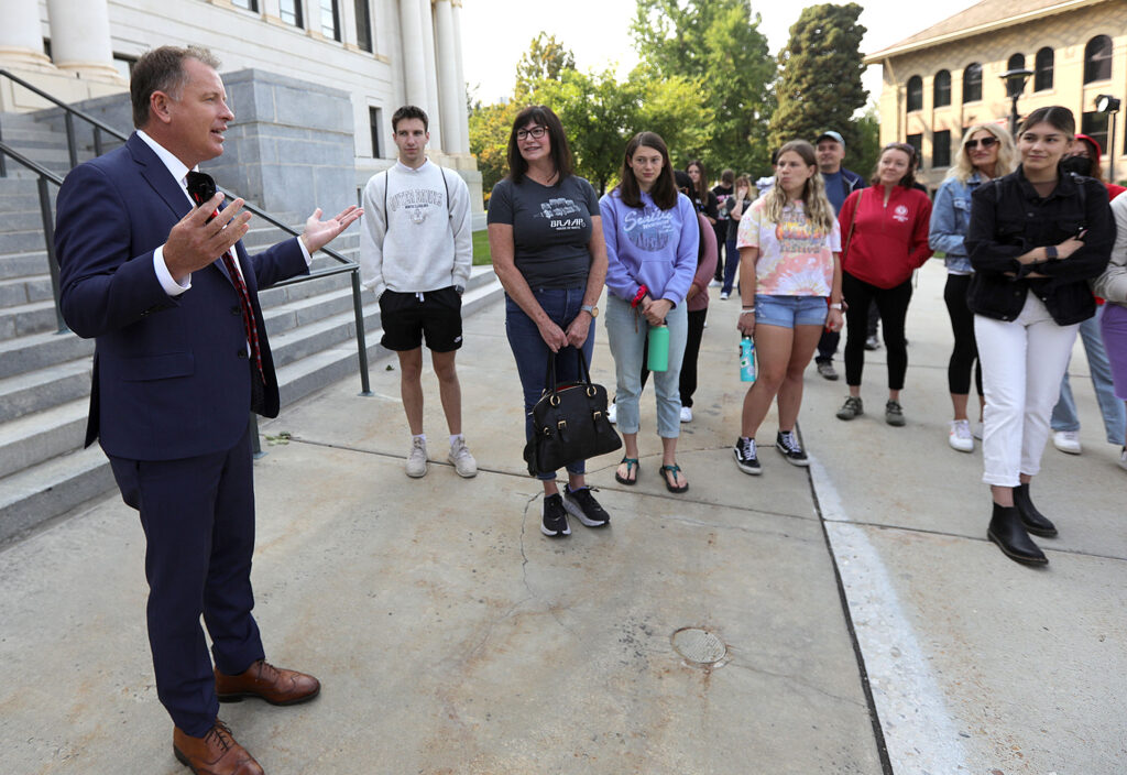 University of Utah President Taylor Randall talks to a group of prospective and incoming students touring the University of Utah campus in Salt Lake City on Friday, Aug. 20, 2021.
