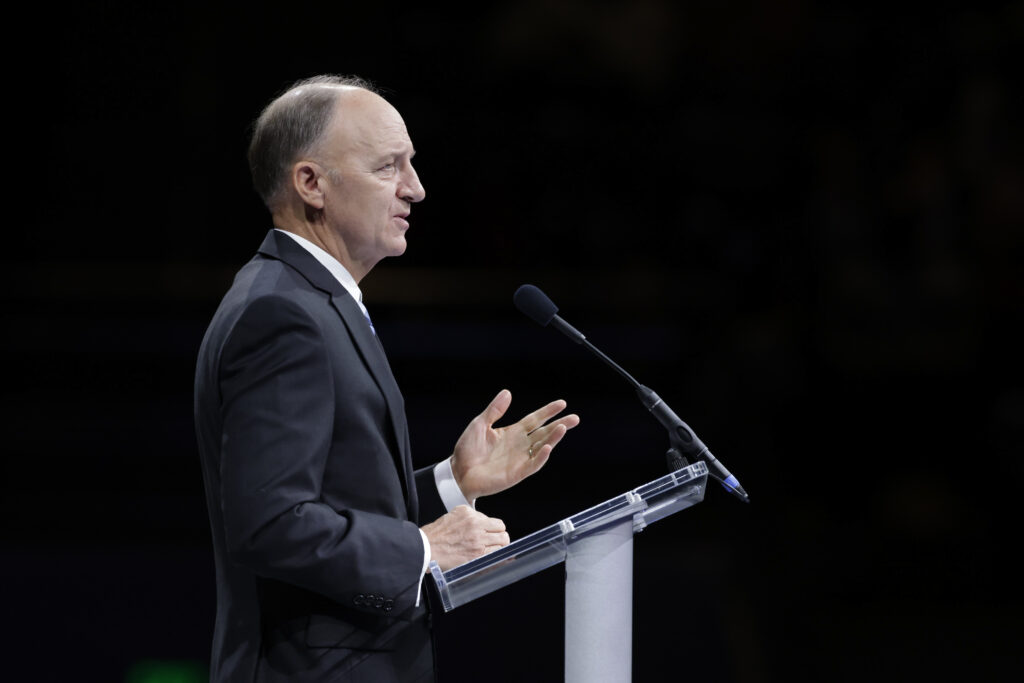 Elder Paul B. Pieper, a General Authority Seventy, speaks during a BYU campus devotional in the Marriott Center in Provo, Utah, on Sept. 21, 2021.