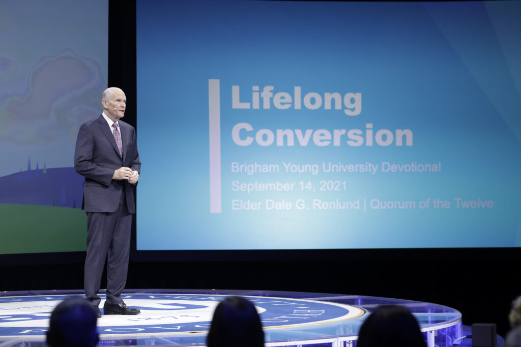 Elder Dale G. Renlund of the Quorum of the Twelve Apostles speaks about lifelong conversion during BYU campus devotional in the Marriott Center in Provo, Utah, on Tuesday, Sept. 14, 2021.