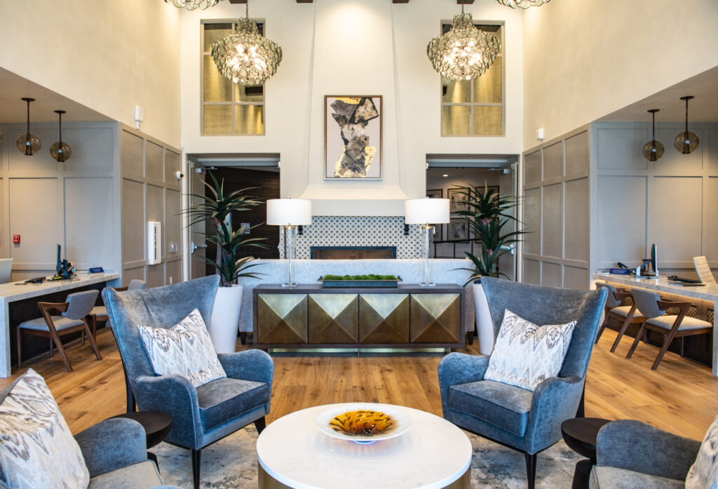 The lobby of the Grove on Main, a multi-use construction project by City Creek Reserve Inc., the real estate arm of The Church of Jesus Christ of Latter-day Saints. Upgraded materials and furnishings create a timeless look in Mesa, Arizona, May 2021.