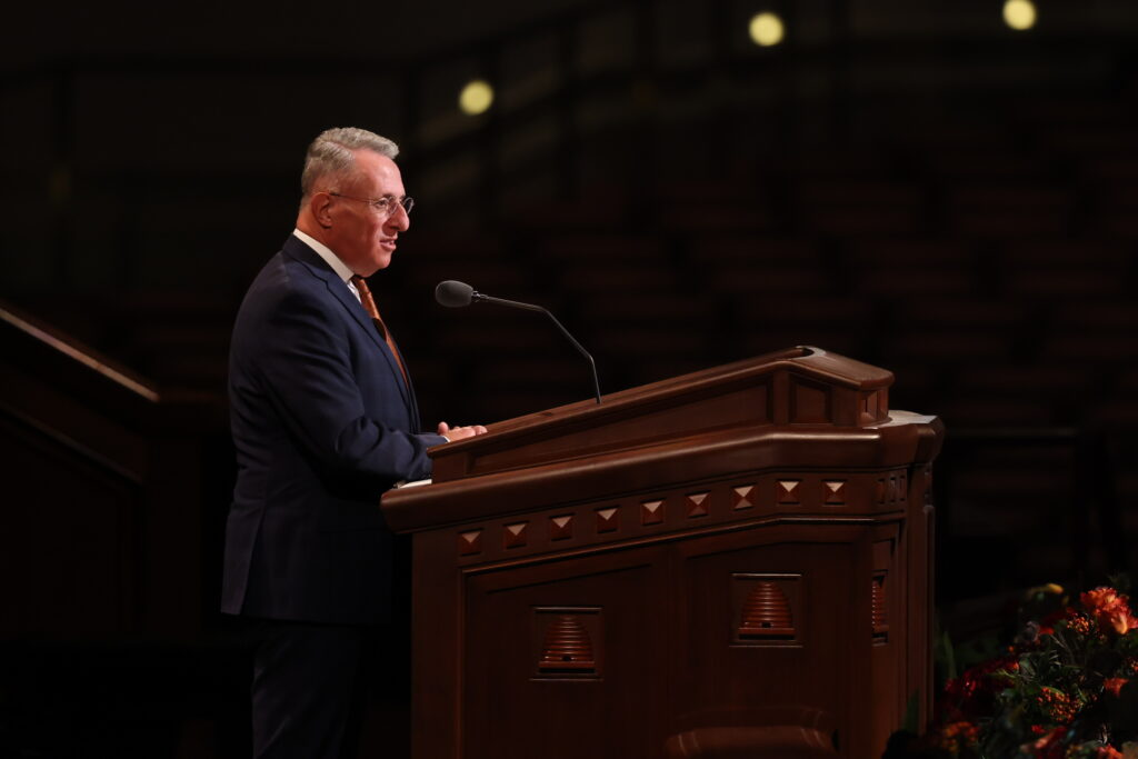 Elder Ulisses Soares of the Quorum of the Twelve Apostles speaks during the Saturday morning session of the 191st Semiannual General Conference of The Church of Jesus Christ of Latter-day Saints, broadcast from the Conference Center in Salt Lake City on Oct. 2, 2021.