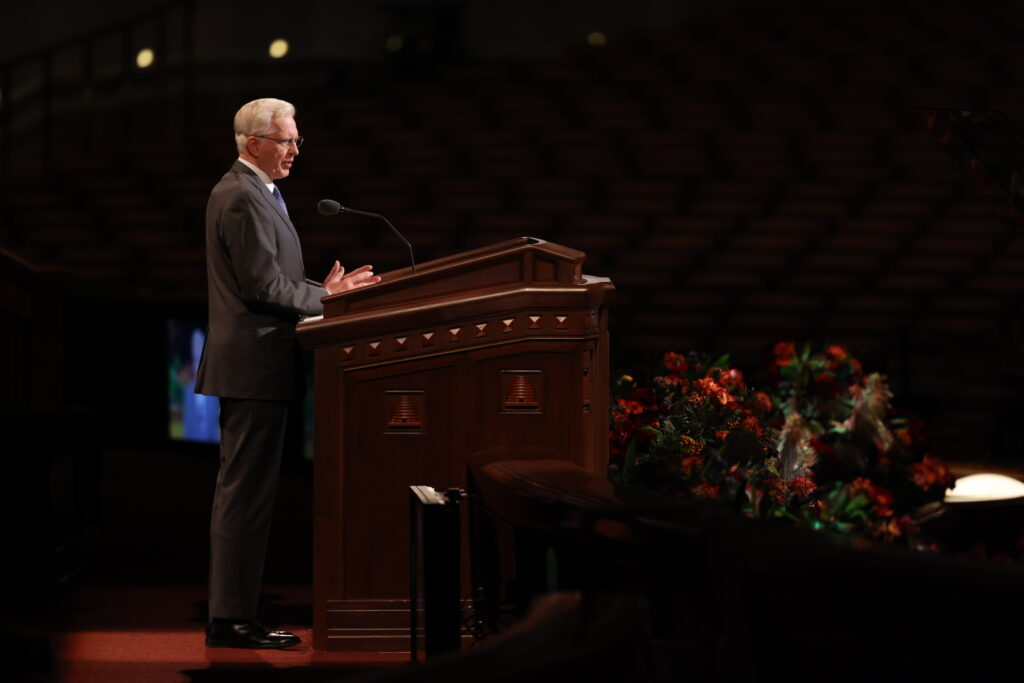 Elder D. Todd Christofferson of the Quorum of the Twelve Apostles speaks during the Saturday morning session of the 191st Semiannual General Conference of The Church of Jesus Christ of Latter-day Saints, broadcast from the Conference Center in Salt Lake City on Oct. 2, 2021.