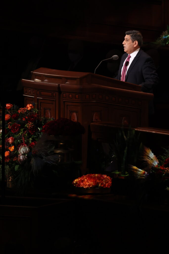 Elder Patricio M. Giuffra, General Authority Seventy, speaks during the Saturday morning session of the 191st Semiannual General Conference of The Church of Jesus Christ of Latter-day Saints, broadcast from the Conference Center in Salt Lake City on Oct. 2, 2021.
