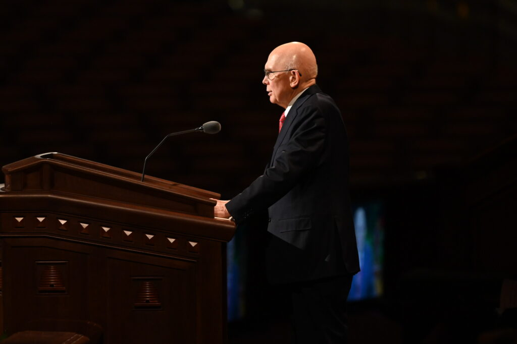 President Dallin H. Oaks, first counselor in the First Presidency, speaks during the Saturday morning session of the 191st Semiannual General Conference of The Church of Jesus Christ of Latter-day Saints, broadcast from the Conference Center in Salt Lake City on Oct. 2, 2021.
