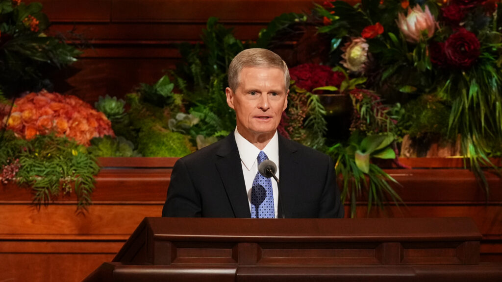 Elder David A. Bednar of the Quorum of the Twelve Apostles speaks during the Saturday afternoon session of the 191st Semiannual General Conference of The Church of Jesus Christ of Latter-day Saints, broadcast from the Conference Center in Salt Lake City on Oct. 2, 2021.