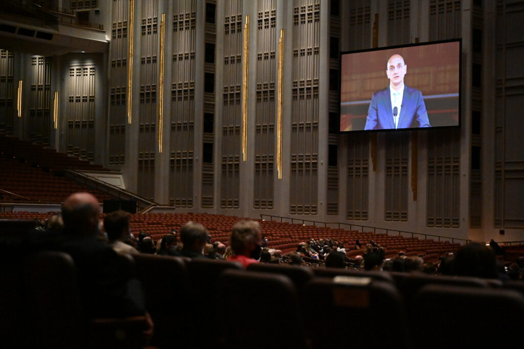 Elder Ciro Schmeil, a General Authority Seventy, was recorded previously. His remarks are shown in the Conference Center during the Saturday afternoon session of the 191st Semiannual General Conference of The Church of Jesus Christ of Latter-day Saints on Oct. 2, 2021.