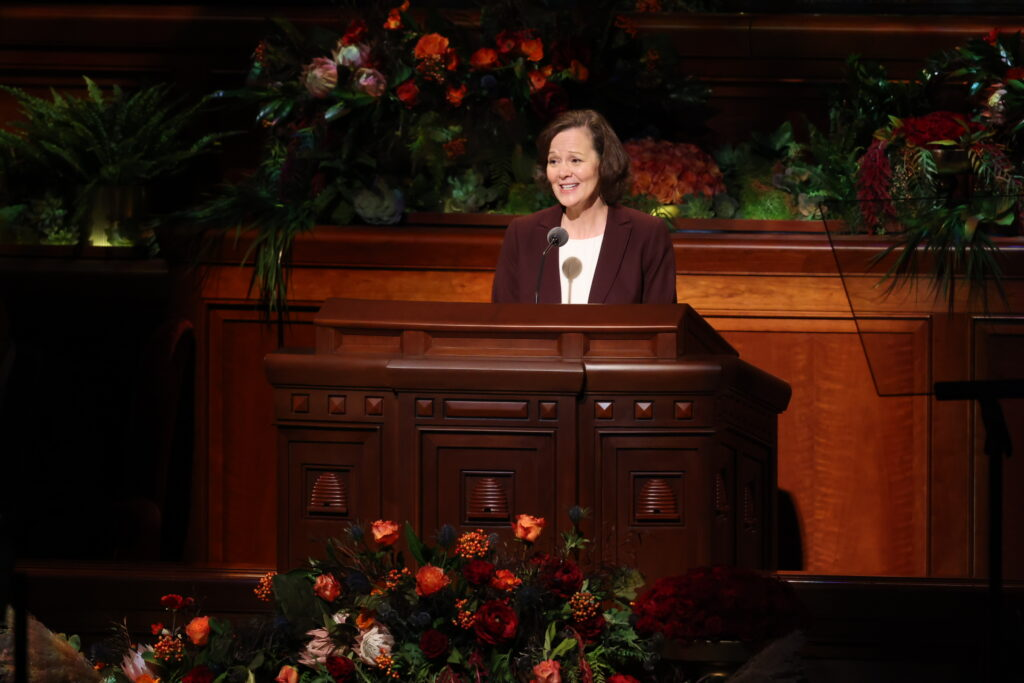 Sister Susan H. Porter, first counselor in the Primary general presidency, speaks during the Saturday afternoon session of the 191st Semiannual General Conference of The Church of Jesus Christ of Latter-day Saints, broadcast from the Conference Center in Salt Lake City on Oct. 2, 2021.