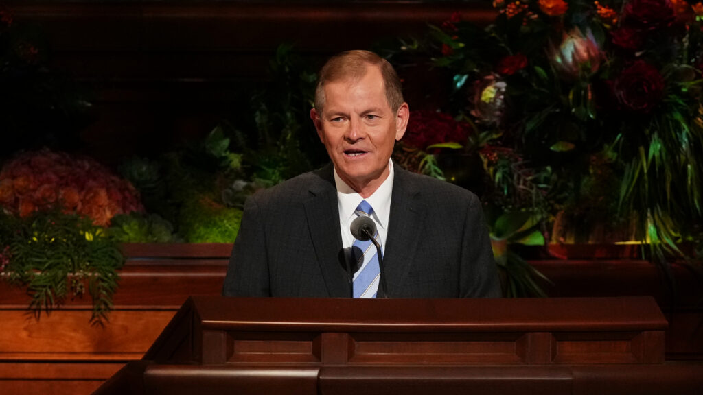 Elder Gary E. Stevenson of the Quorum of the Twelve Apostles speaks during the Saturday afternoon session of the 191st Semiannual General Conference of The Church of Jesus Christ of Latter-day Saints, broadcast from the Conference Center in Salt Lake City on Oct. 2, 2021.