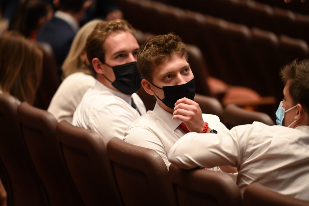 Masked audience members sit in the Conference Center in Salt Lake City before the Saturday evening session of the 191st Semiannual General Conference of The Church of Jesus Christ of Latter-day Saints on Saturday, Oct. 2, 2021.