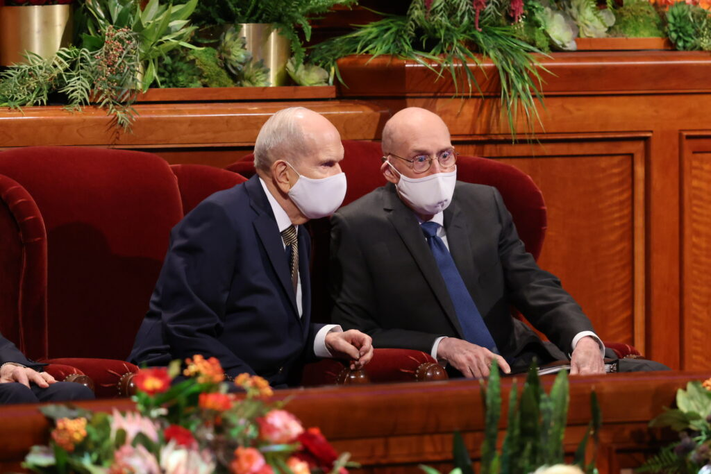President Russell M. Nelson and President Henry B. Eyring, second counselor in the First Presidency of The Church of Jesus Christ of Latter-day Saints, are seated on the stand before the Saturday evening session of the 191st Semiannual General Conference on Oct. 2, 2021.