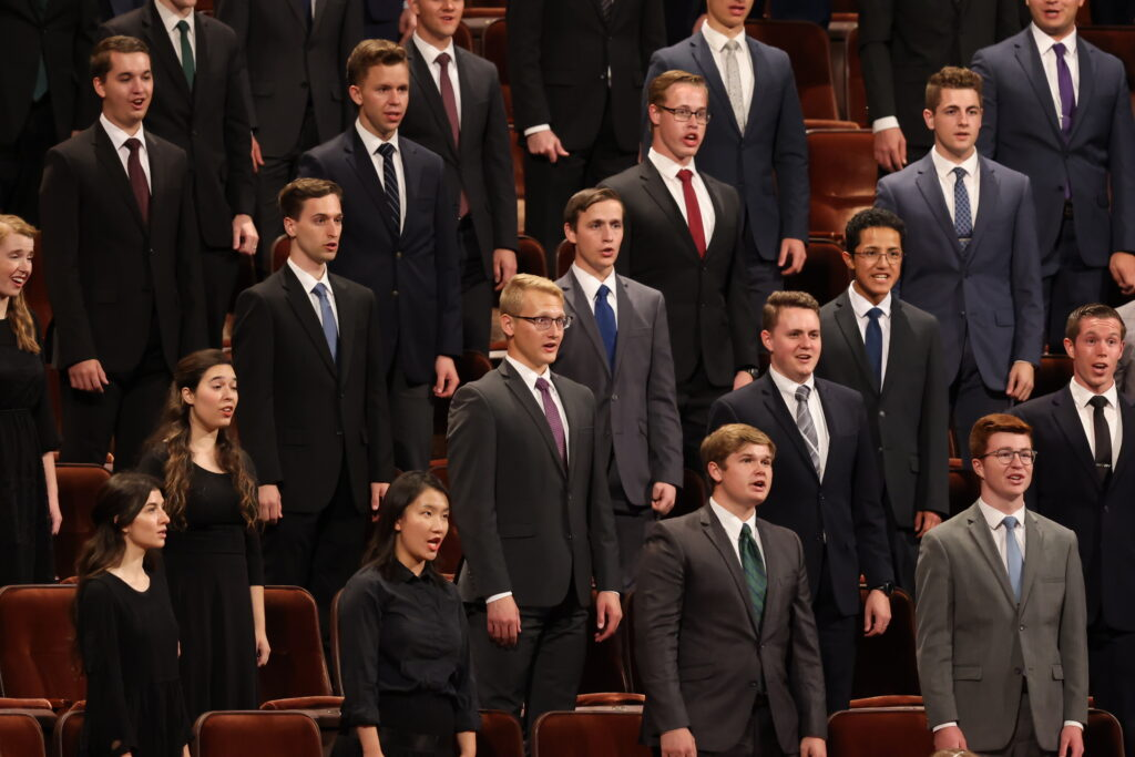 A choir of BYU students performs in the Conference Center in Salt Lake City during the Saturday evening session of the 191st Semiannual General Conference of The Church of Jesus Christ of Latter-day Saints on Saturday, Oct. 2, 2021.