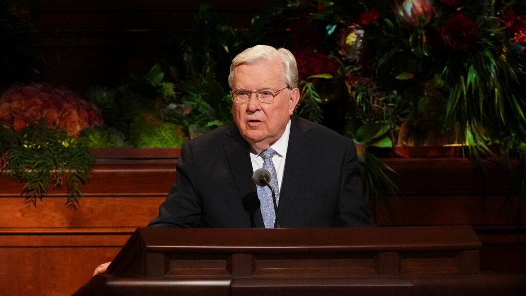 President Russell M. Ballard, Acting President of the Quorum of the Twelve Apostles of The Church of Jesus Christ of Latter-day Saints, delivers an address during the Saturday evening session of the 191st Semiannual General Conference held in the Conference Center on Oct. 2, 2021.