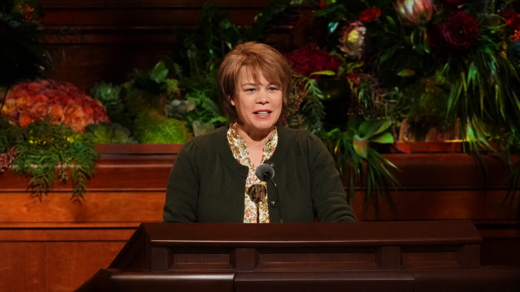 Sister Sharon Eubank, first counselor in the Relief Society general presidency, speaks Saturday evening, Oct. 2, 2021, during The Church of Jesus Christ of Latter-day Saints' 191st Semiannual General Conference held in the Conference Center in downtown Salt Lake City.