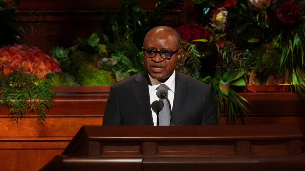 Elder Alfred Kyungu, a General Authority Seventy, speaks during the Saturday evening session of the 191st Semiannual General Conference of The Church of Jesus Christ of Latter-day Saints held in the Conference Center on Oct. 2, 2021.