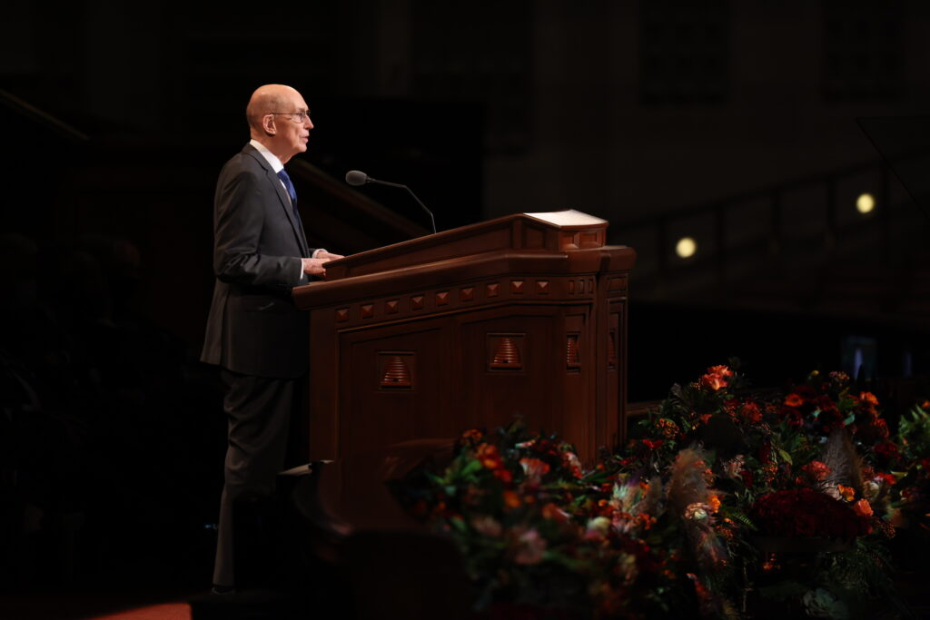 President Henry B. Eyring of the First Presidency addresses the Saturday evening session of the 191st Semiannual General Conference of the Church held Oct. 2, 2021, in the Conference Center.