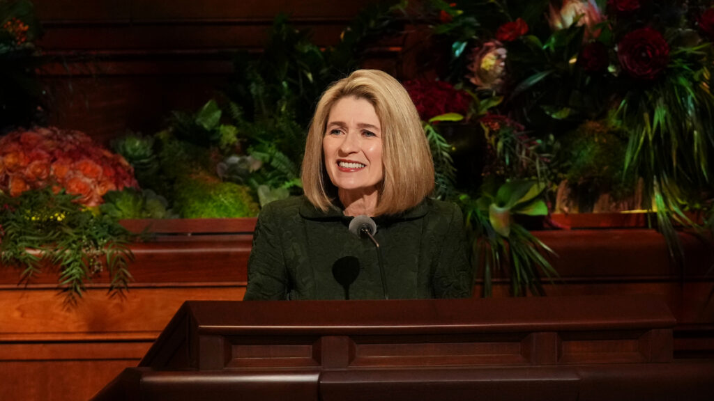 Primary General President Camille N. Johnson speaks Sunday morning, Oct. 3, 2021, during The Church of Jesus Christ of Latter-day Saints' 191st Semiannual General Conference, which was held in the Conference Center in Salt Lake City.