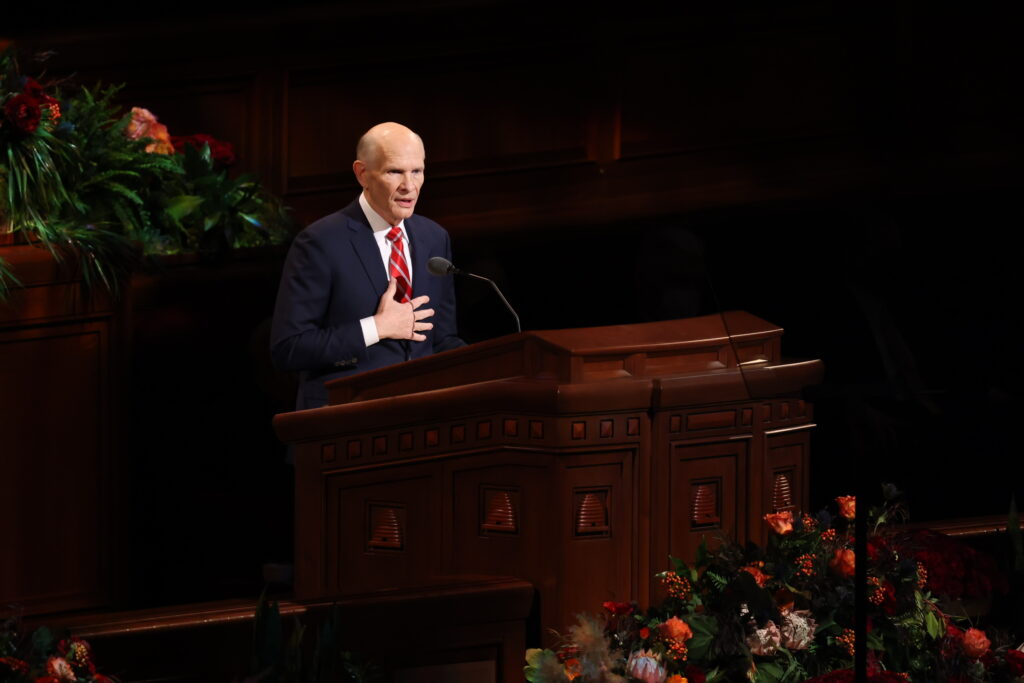 Elder Dale G. Renlund of the Quorum of the Twelve Apostles of The Church of Jesus Christ of Latter-day Saints delivers an address in the Conference Center on Sunday morning, Oct. 3, 2021, during the 191st Semiannual General Conference.
