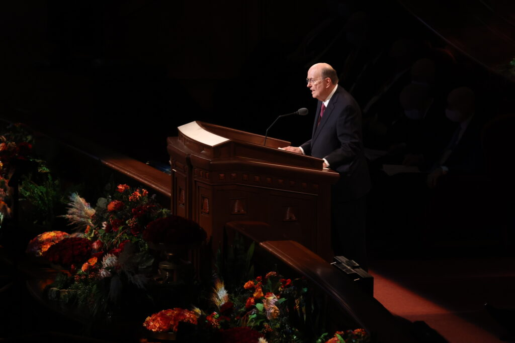 Elder Quentin L. Cook of the Quorum of the Twelve Apostles delivers an address Sunday morning, Oct. 3, 2021, during the 191st Semiannual General Conference of The Church of Jesus Christ of Latter-day Saints, which was held in the Conference Center in Salt Lake City.