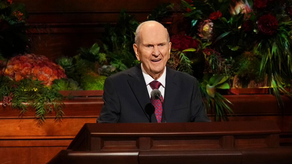 President Russell M. Nelson, President of The Church of Jesus Christ of Latter-day Saints, speaks Oct. 3, 2021, during the Sunday morning session of the 191st Semiannual General Conference, which was held in the Conference Center in Salt Lake City.