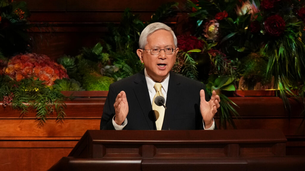 Elder Gerrit W. Gong of the Quorum of the Twelve Apostles of The Church of Jesus Christ of Latter-day Saints speaks during the Sunday afternoon session of the 191st Semiannual General Conference on Oct. 3, 2021, in the ConferenceCenter in Salt Lake City.