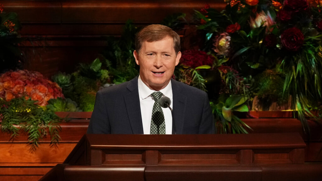 Bishop L. Todd Budge, second counselor in the Presiding Bishopric of The Church of Jesus Christ of Latter-day Saints, speaks during the 191st Semiannual General Conference on Sunday afternoon, Oct. 3, 2021, in the Conference Center in Salt Lake City.